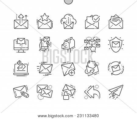 Email Well-crafted Pixel Perfect Vector Thin Line Icons 30 2x Grid For Web Graphics And Apps. Simple