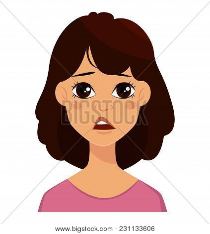 Face Expression Of A Cute Woman, Disappointed. Female Emotion. Attractive Cartoon Character. Vector