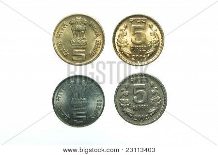 India five Rupee coins