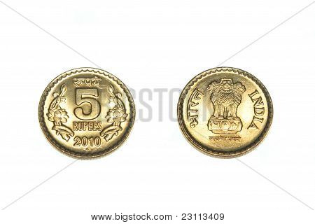 India five Rupee, front and back