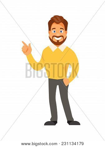 Cartoon Businessman Making A Presentation And Advertising. Vector Illustration