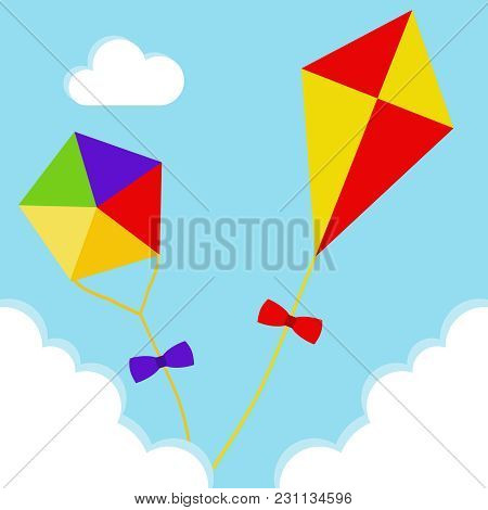 Kites Fly Clouds Vector & Photo (Free Trial) | Bigstock