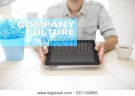 Company Culture Text On Virtual Screen. Business, Technology And Internet Concept