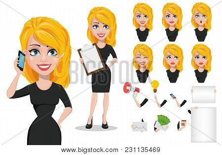 Business Woman Cartoon Character Creation Set. Young Beautiful Businesswoman In Smart Casual Clothes