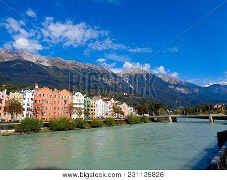 Innsbruck In Austria Behind The Inn View