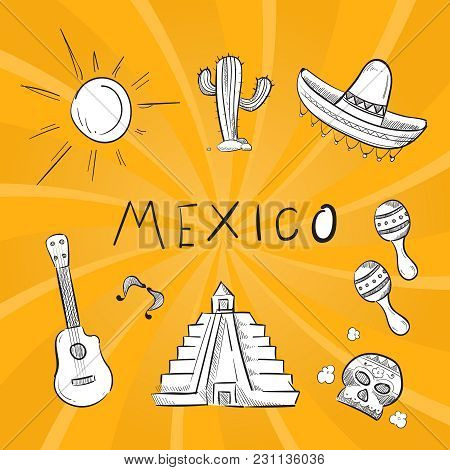 Hand Drawn Mexico Symbol Stickers Of Set. Vector Guitar And Cactus Illustration