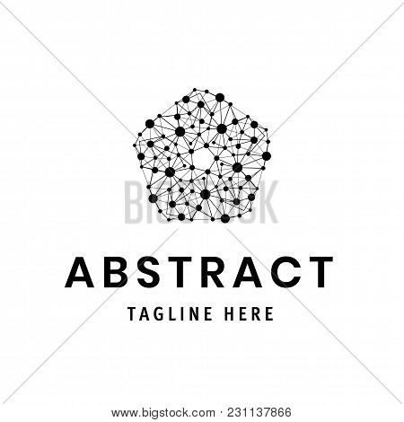 Polygonal Flower, Modern Stylish Logo. Design Element With Dots And Lines. Vector Illustration Low P