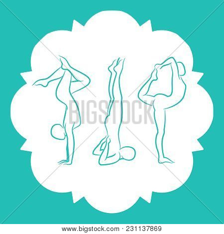 Pilates, Fitnes, Yoga Line Silhouettes Pose Of Set. Vector Illustration