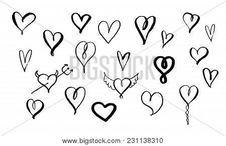 Set Of Hand Drawn Brush Hearts. Big Collection. Brush Pen Handwriting Icons Illustration. Vector Ink