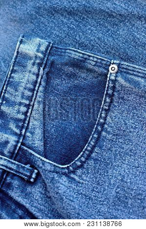 Pocket And Rivet On Jeans. Fiber And Fabric Structure Natural Clean Denim. Background For Design