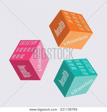 Vitamins Logo On The Bright Squares Isolated Art Illustration Design Label Health Infographics Vecto