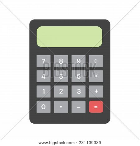 Calculator In Flat Style. Calculator Isolated On White Background. Vector Stock.