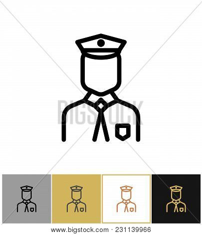 Policeman Icon, Police Uniform Man Sign Or Security Guard Person On Gold, Black And White Background