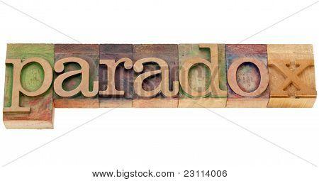 Palabra paradoja en tipografía tipo