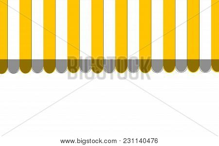 Orange Striped Carnival Information Ticket Window Booth. Vector Illustration.