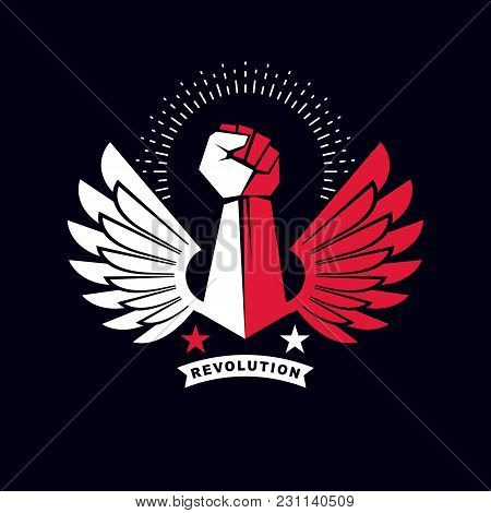 Strong Fist Of An Active Sportsman Vector Symbol Created Using Eagle Wings And Stars. Fighting Club
