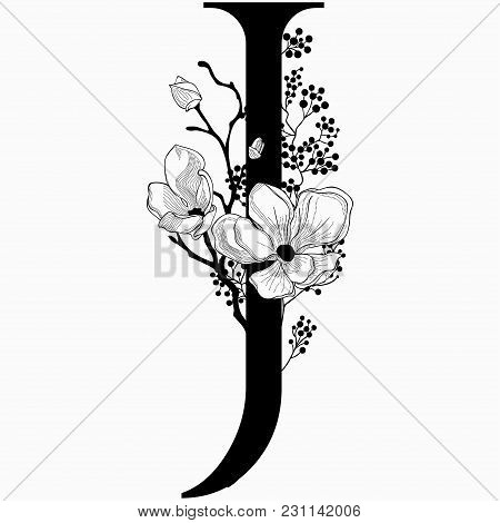 Vector Hand Drawn Floral J Monogram Or Logo. Letter J With Flowers And Branches. Cherry Blossom. Flo