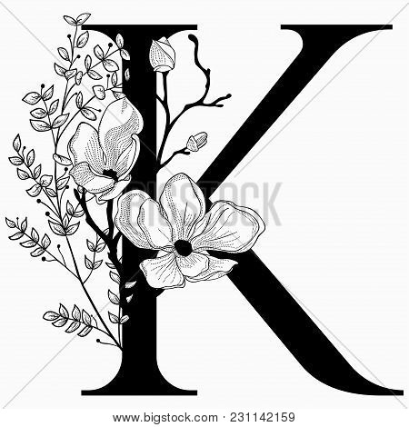 Vector Hand Drawn Floral K Monogram Or Logo. Letter K With Flowers And Branches. Cherry Blossom. Flo