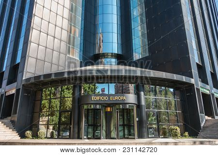 Valencia, Spain - June 18, 2017 : Architectural Detail Of A Large Office Building, The Europa Tower