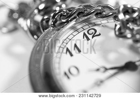 Antique Pocket Watch Close Up Macro Shot In Black And White.