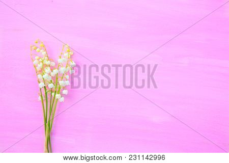 Lily Of The Valley On Pink Wooden Background.