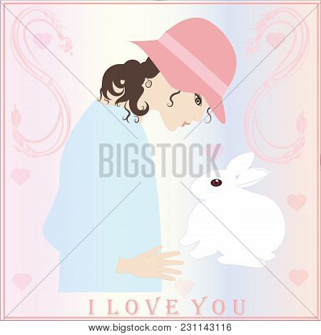 Spring Light Background Girl In Hat Rabbit Hearts Greeting Card Valentine's Day Birthday Easter Insc