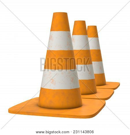 Traffic Cone. Orange Road Sign With White Stripes 3d Render Isolated On White Background. Under Cons