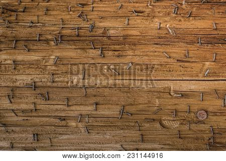 Ld Wooden Structure Surface With Rusty Paper Clips Staples And A Nail Head Us