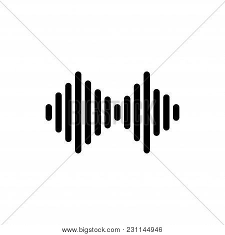 Sound Wave From Equalizer. Flat Vector Icon. Simple Black Symbol On White Background