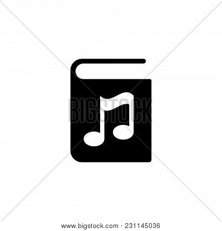 Audio Book. Flat Vector Icon. Simple Black Symbol On White Background