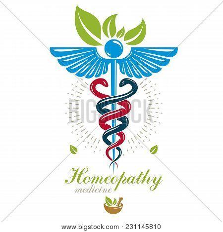 Pharmacy Caduceus Icon, Vector Medical Logo For Use In Holistic Medicine, Rehabilitation Or Pharmaco