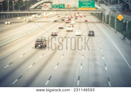 Blurred Traffic On Interstate Highway 69 Houston, Texas, Usa