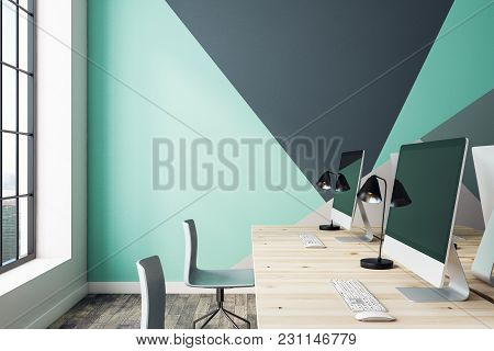 Side View Of Contemporary Coworking Office With Equipment, Window With City View And Copy Space On W