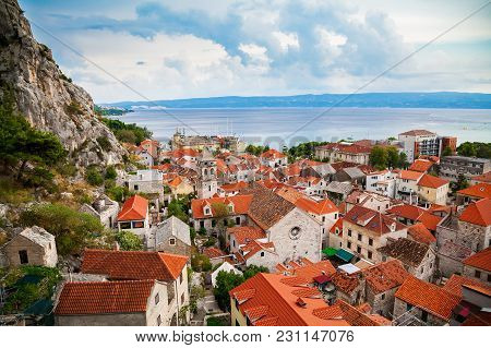 Aerial View Of Omis And Church Of The Holy Cross
