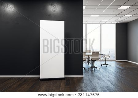 Contemporary Meeting Room Interior With Empty Billboard On Wall. Presentation Concept. Mock Up, 3d R