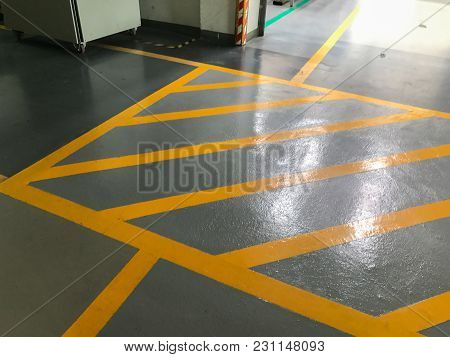 Yellow Cross Line In The Factory At Thailand