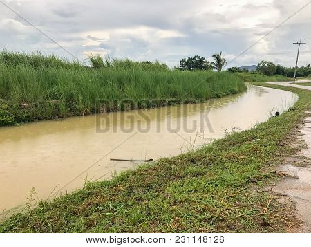 Heavy Flood In Canal At Phatthalung Thailand