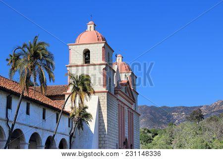 Santa Barbara Mission, California, Usa. The Roman Catholic Landmark Is Registered As U.s. National H