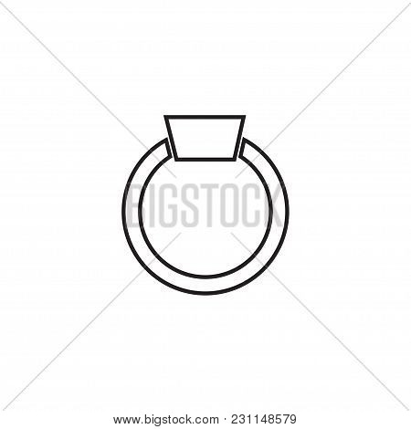 Ring With Diamond Icon, Engagement And Wedding Ring. Line Art Design, Vector Flat Illustration.