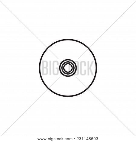 Vinyl Record Vector Icon, Compact Cd Disk, Dvd Disc Gramophone Record Symbol.
