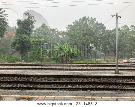 Train Station With Roof On Rainy Day In Phatthaling Thailand
