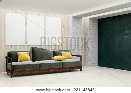 Contemporary Living Room Interior With Empty Billboard On Wall. Mock Up, 3d Rendering