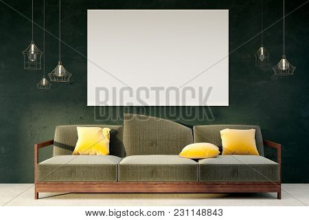 Minimalistic Living Room Interior With Empty Billboard On Wall. Mock Up, 3d Rendering