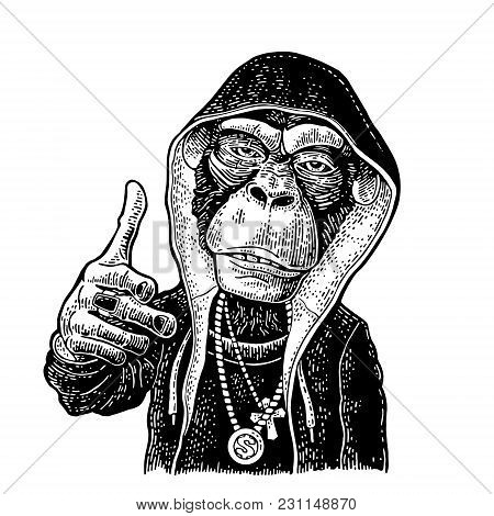 Monkey Raper Dressed In The Hoodie, Necklace With Dollar, Cross. Showing Symbol Like. Vintage Black