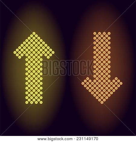 Yellow And Orange Neon Arrow With Rings. Vector Illustration Of Long Neon Arrow Consisting Of Many R