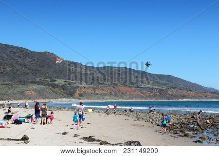 Malibu, Usa - April 6, 2014: People Visit Leo Carrillo State Park In Malibu, California. California
