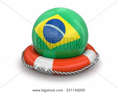 3d Illustration. Ball With Brazilian Flag On Lifebuoy. Image With Clipping Path