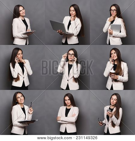 Set Of Different Emotions Of Business Woman In Formal Suit. Young Female Employee Using Gadgets And