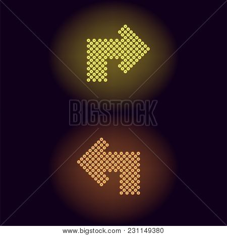 Yellow And Orange Neon Arrow With Rings. Vector Illustration Of Turning Neon Arrow Consisting Of Man