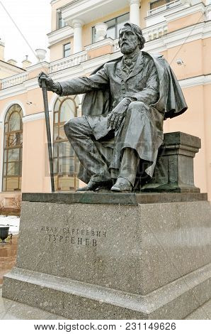 Saint-petersburg.russia.march. 14.2018.the Monument To The Great Russian Writer ,a Classic Of Litera